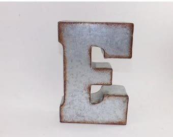 ON SALE RUSTIC Metal Letter / Metal Letter E / Shelf Letter / Wall Metal Letter / Industrial Letter / Metal Initial