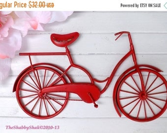 ON SALE Bicycle Wall Art / Red Wall Decor / Metal Bicycle / Metal Wall Decor / Shabby Chic Decor / Shabby Chic Decor