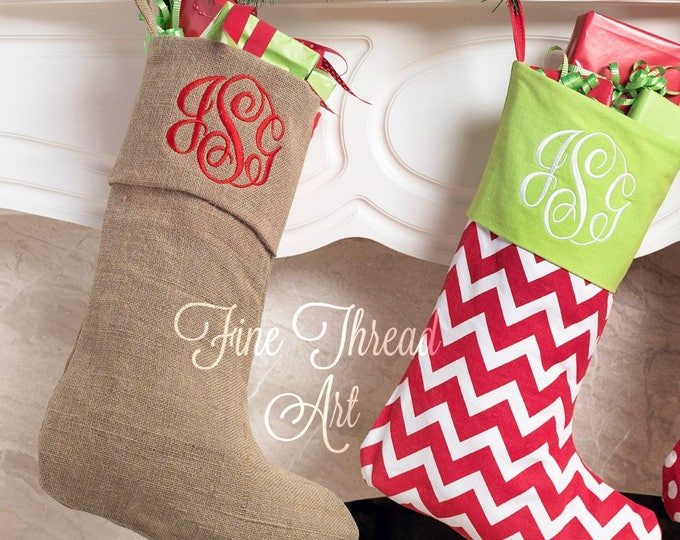 Featured listing image: Burlap Christmas Holiday Stocking with Monogram or Name Embroidered
