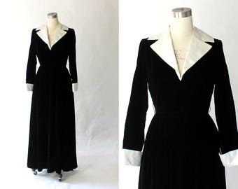1960s I. MAGNIN Velvet Tuxedo Gown with White Satin Contrast Collar // 60s Vintage Long Formal Evening Dress // Small