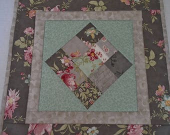 Floral Quilted Table Topper in Gray and Aqua, Quilted Table Topper Roses and Flowers, End Table Topper, Night Stand Quilt, Square Topper