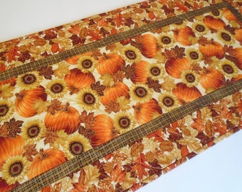 Elegant Fall Quilted Table Runner With Pumpkins And Sunflowers, Pumpkin  Table Topper, Sunflower Table