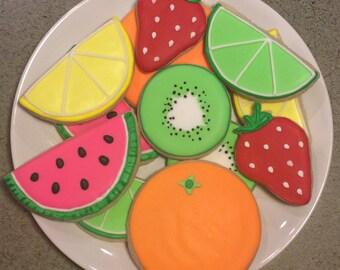 One Dozen Tutti Fruitti Sugar Cookies