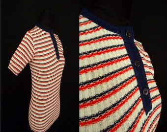 Patriotic Striped STRETCHY Vintage 1960's NOS Women's Sweater Shirt M