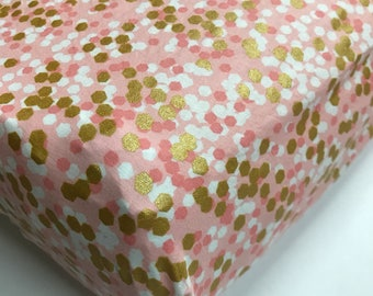 Baby Girl Bedding,  Gold and Coral Crib Sheet or Changing Pad Cover, Metallic Crib Sheet, Baby Girl Nursery Bedding