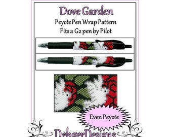 Bead Pattern Peyote(Pen Wrap/Cover)-Dove Garden