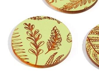 Sage Floral / Maple Wood Coaster Set