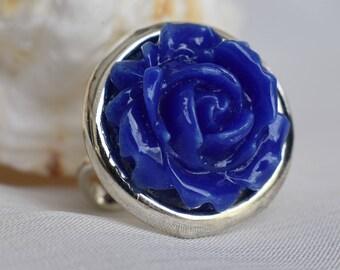 Blue Glass Rose Statement Ring Fused Glass Blue Rose / Flower on adjustable Silver ring