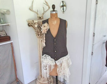 recycled reconstructed up cycled vest with vintage buttons and vintage crochet ooak ready to ship