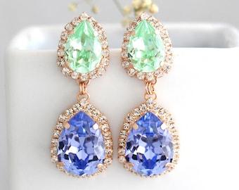 Mint Lilac Earrings, Purple Green Earrings, Mint Lilac Long Earrings, Green Purple Drop Earrings, Swarovski Chandelier Dangle Earrings