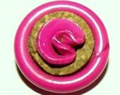 Vintage Button ~ Vintage Plastic Button ~ Hot Pink Plastic & Cork Button ~ Celluloid Button