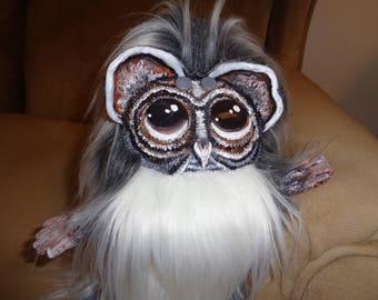 OOAK Fantasy Plush Art Doll Plushie Harold The Wise Old Gray And White Owl Mythological Creature