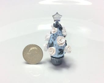 Miniature Christmas tree with white roses for quarter scale dollhouse handmade from polymer clay