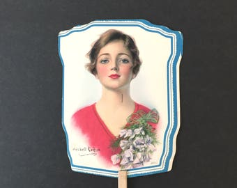 Vintage Advertising 1920s Paper Fan on Stick Haskell Coffin Woman Portrait