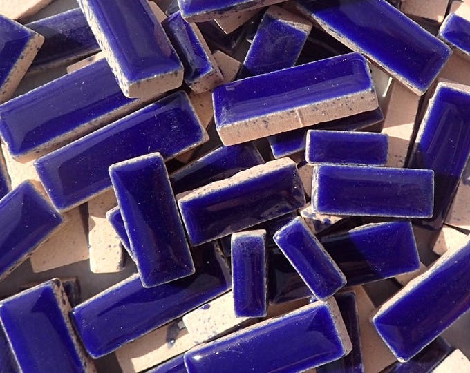 """Dark Blue Mini Rectangles Mosaic Tiles - 50g Ceramic in Mix of 3 Sizes 3/8"""" and 5/8"""" and 3/4"""" in Indigo"""