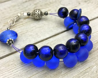 Blue Violet Abacus Counting Bracelet, Knitting Row Counter, Gift for Knitters, Beaded Knitting Jewelry
