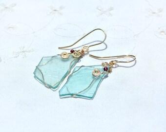 Translucent Roman Glass Earrings in Gold Filled. Delicate Sky Blue Glass Earrings. Israeli Earrings. Roman Glass Jewelry. Free Shipping
