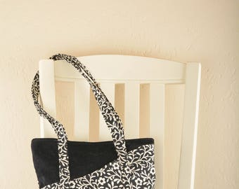 Black and White Floral Tote