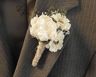 Will ship in 5 days ~ Peony Sola Flower and Daisy Boutonniere with twine wrapped stem.