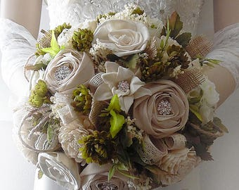 Ready to Ship ~ Large Rustic Woodland Sola Flower Bridal Wedding Bouquet. Arrives in 2 to 3 days priority mail!