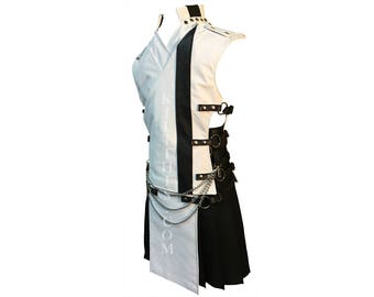 Interchangeable White Leather Utility Kilt & Vest Suit with Priest Collar and Kilt Chains Custom Fit Adjustable