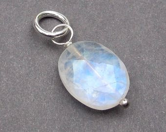 Rainbow Moonstone Charm, Moonstone Bracelet Charm,  Sterling Silver Wire Wrapped Dangle Pendant, Moonstone Jewelry Stone 44