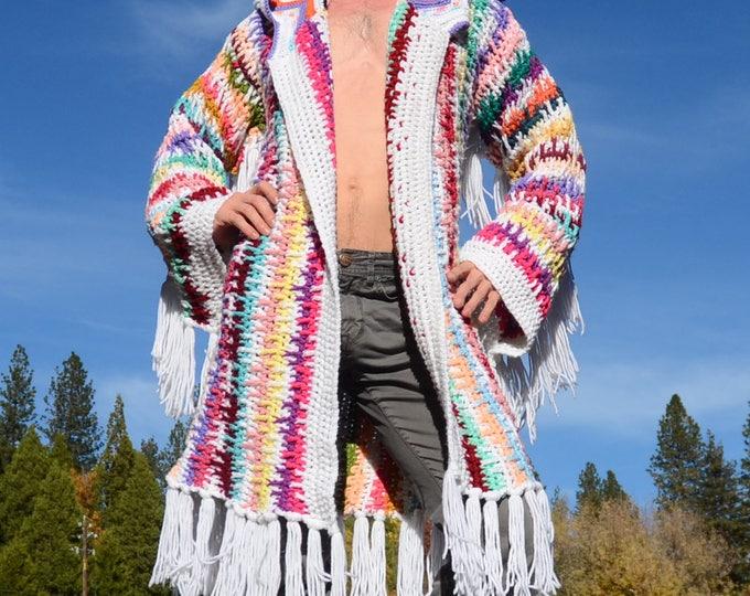 Crochet Sweater Robe Winter White Fringe