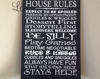 ON SALE Personalized 8x12 wooden sign w vinyl subway art quote Grandma and Grandpa house rules...