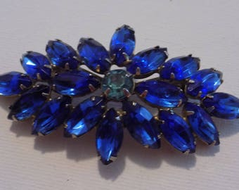 Vintage brooch,cobalt  blue and teal marquise crystal brooch, elegant brooch, retro brooch, vintage jewelry, 1940s brooch