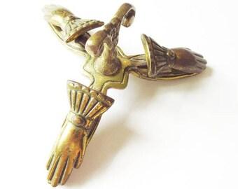 Brass Victorian Hand 3 Clip Letter Holder, Vintage