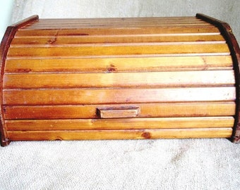 Wood Bread Box with Faux Roll Top Lift Lid, Vintage Storage