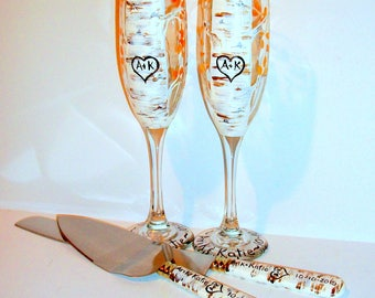 Aspen Trees with Heart and Initials Hand Painted Set of  2 - 6 oz. Champagne Flutes and Cake Knife & Server Set Wedding Anniversary Gift