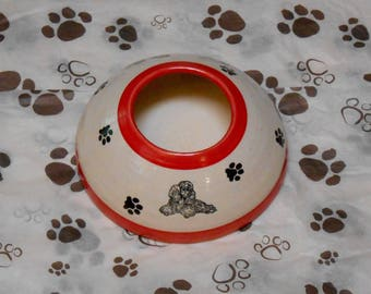 Poodle Pup Long Ear Bowl - Red (Small)