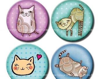 Cats 1 inch & 1.313 bottle caps graphics. Digital collage sheet download. Images for magnets,  pendants, bottlecaps, badges, cupcake toppers