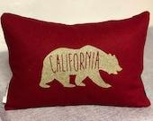 California Bear Pillow RED
