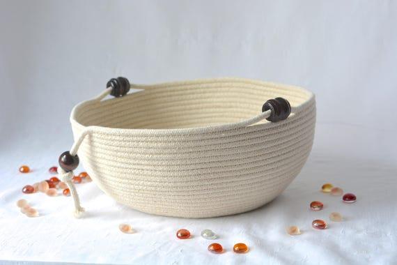 Modern Rope Basket, Handmade Beige Bowl, Brush Holder, Makeup Organizer, Coiled Fabric Basket, Bathroom Towel Holder