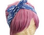 Bandeau Cheveux Turban Headband Les Flots Bleus Mer Vague Eté Plage St Tropez