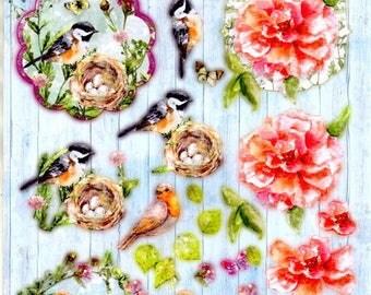 008 - 1 sheet of die cut flowers beautiful images