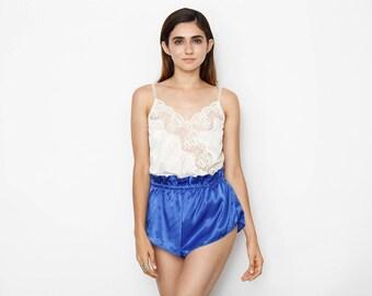 Blue High Waist Silky Shorts