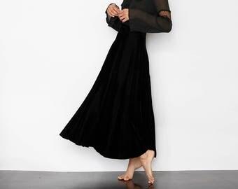 Extreme Black Velvet High Waist Skirt