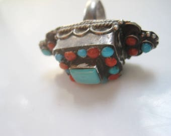 Nepal Silver Ring with Turquoise and Coral, Nepali Jewelry, Statement Ring, Size 7