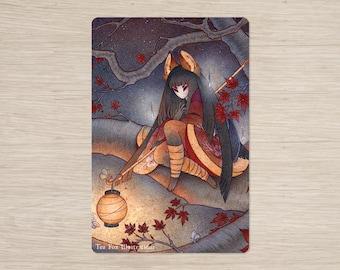 Lantern Light / Kitsune Fox Girl Yokai / Japanese Asian Style / 4x6 Glossy Postcard Rounded Corners