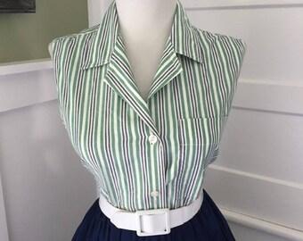 Sexy Vintage Cotton Green & White Striped Button Down Sleeveless Blouse Top