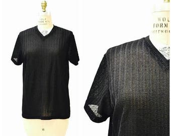 SALE Vintage 90s Black Tee Shirt Size Large 90s Minimalist Shirt Sheer Mesh Sweater knit 90s Club Shirt