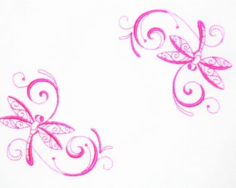 Dancing Dragonflies embroidered quilt label to customize with your personal message