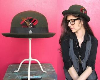Vintage Bowler Hat made in Britain - Olive Green Felt Derby Bowler Hat small Medium LADIES