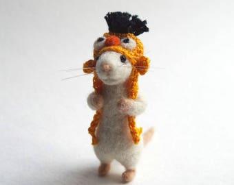 Needle felted mouse wearing crochet Bert hat