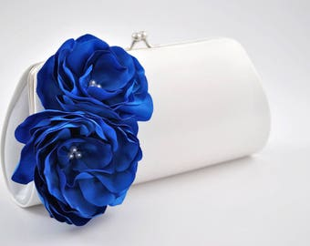 Something blue wedding clutch- Bridal clutch/Bridesmaid clutch/ Wedding clutch / Prom clutch-Princess blue/Off white