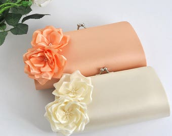 IVORY_PEACH / Bridal Clutch / Bridesmaid Clutch / Wedding clutch / Prom / Custom clutch