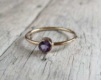 Natural amethyst ring. Gemstone ring. Birthstone ring, Solid gold amethyst ring, gold filled ring or sterling silver amethyst band.